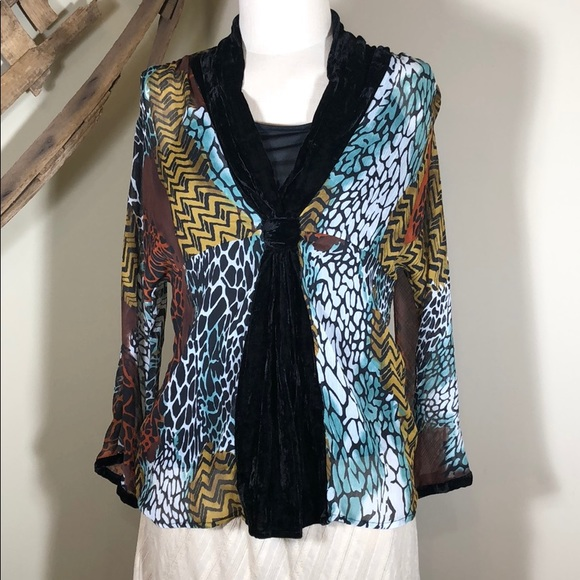 Ivy Chic Tops - Colorful animal print blouse w/crushed velvet trim